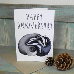 Happy Anniversary Badger Couple Card