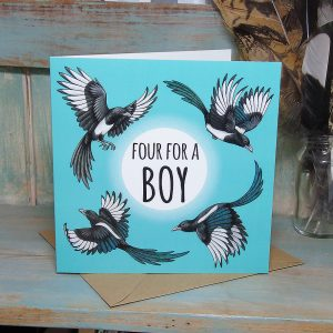 'Four For A Boy' Magpies Card