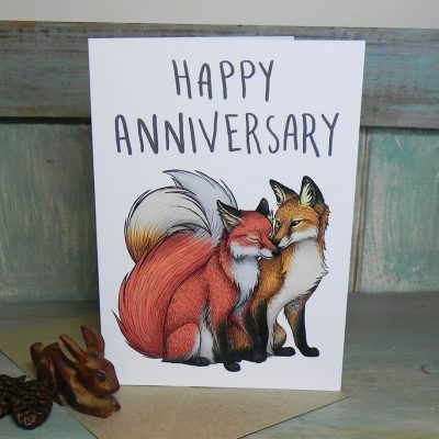 Happy Anniversary Fox Couple Card
