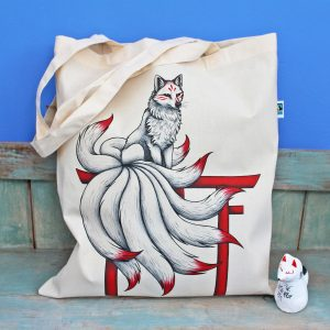 Kitsune Tote Bag ~ 100% Organic & Fairtrade Cotton