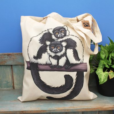 Black & White Ruffed Lemurs Tote Bag ~ 100% Organic & Fairtrade Cotton
