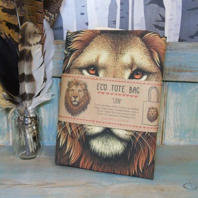 Lion Eco Tote Bag ~ 100% Organic & Fairtrade Cotton