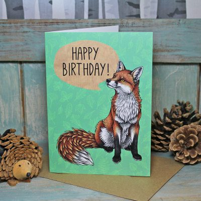 Red Fox Happy Birthday Greeting Card