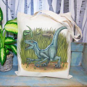 Velociraptors Tote Bag ~ 100% Organic & Fairtrade Cotton