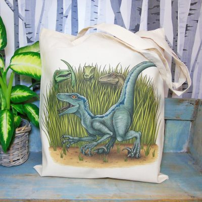 Velociraptors Tote Bag ~ 100% Organic & Fairtrade Cotton