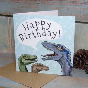 Velociraptors Happy Birthday Card