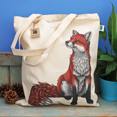 Red Fox Tote Bag ~ 100% Organic & Fairtrade Cotton