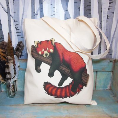 Red Panda Tote Bag ~ 100% Organic & Fairtrade Cotton