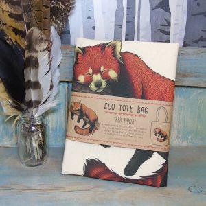 Red Panda Tote Bag ~ 100% Organic & Fairtrade Cotton