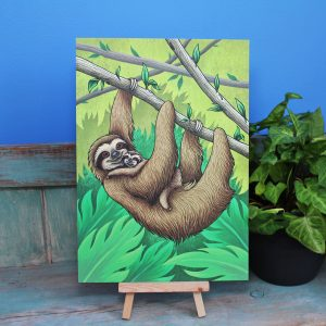 Three-Toed Sloths Illustration – A4 Print