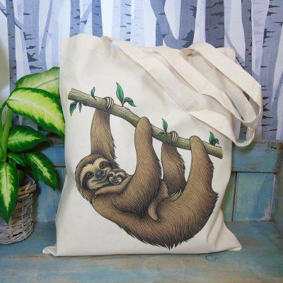 Sloths Tote Bag ~ 100% Organic & Fairtrade Cotton