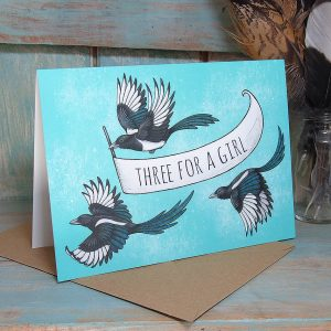'Three For A Girl' Magpies Card