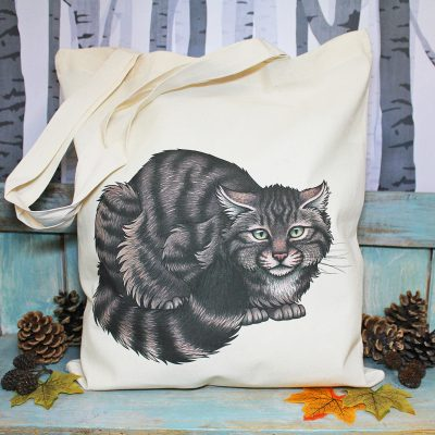 Scottish Wildcat Tote Bag ~ 100% Organic & Fairtrade Cotton