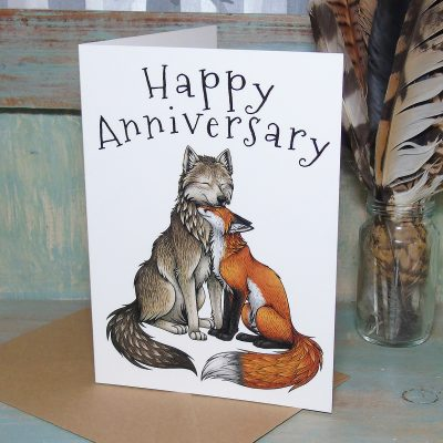 Wolf & Fox Anniversary Greeting Card