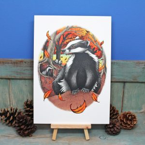 Badgers At Fall Illustration – A4 Print