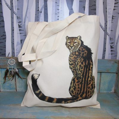 King Cheetah Tote Bag ~ 100% Organic & Fairtrade Cotton