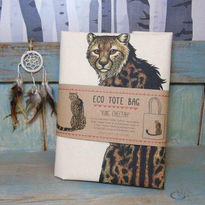 King Cheetah Tote Bag ~ 100% Organic & Fairtrade Cotton