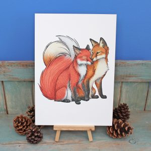 Fox Couple Illustration – A4 Print