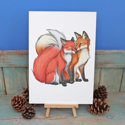 Fox Couple Illustration – A3 Print