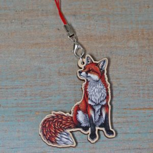 Red Fox Illustration Wooden Phone Charm