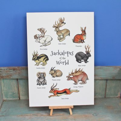 Jackalopes of the World Illustration – A4 Print