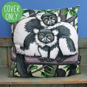 Black and White Ruffed Lemurs Cushion Cover