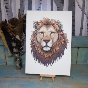 Lion Illustration – A3 Print