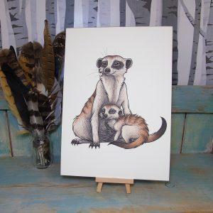 Meerkats Illustration – A4 Print