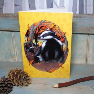Badgers At Fall Illustration Notebook