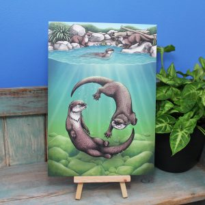 Asian Small-Clawed Otters Illustration – A4 Print