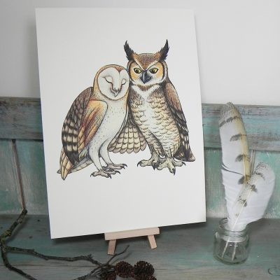 Owl Couple Illustration – A4 Print