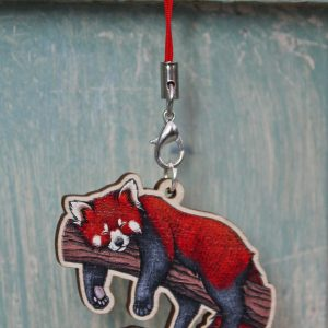 Red Panda Illustration Wooden Phone Charm