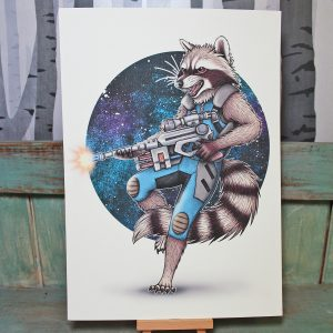 Rocket Raccoon Illustration – A4 Print