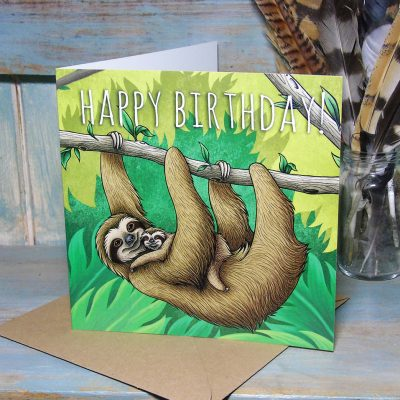 Sloths Happy Birthday Card