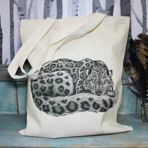 Snow Leopard Tote Bag ~ 100% Organic & Fairtrade Cotton