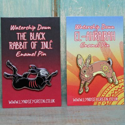 The Black Rabbit of Inlé & El-ahrairah ~ Set of 2 Pins
