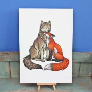 Wolf & Fox Illustration – A4 Print