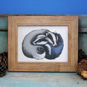 Badger Cuddle Illustration Framed Mini Print
