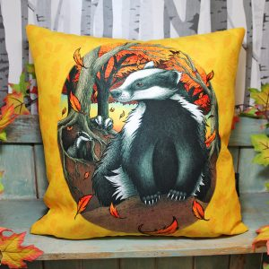 Badgers At Fall Vegan Throw Pillow