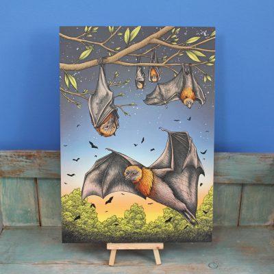 Rodrigues Fruit Bats Illustration – A3 Print