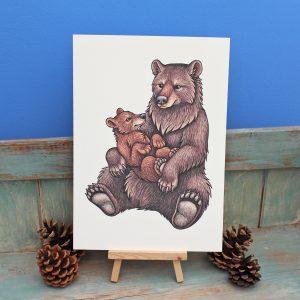 Black Bears Illustration – A4 Print