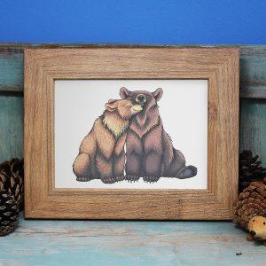 Bear Cuddle Illustration Framed Mini Print