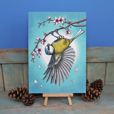 Blue Tit Illustration – A3 Giclée Print