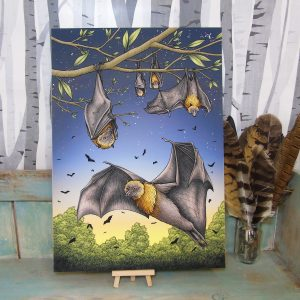 Rodrigues Fruit Bats Illustration – A3 Giclée Print