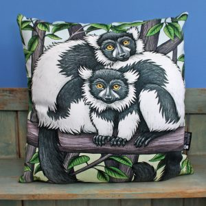 Black and White Ruffed Lemurs Throw Pillow