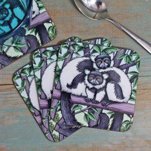 Single (x1) Black & White Ruffed Lemurs Coaster