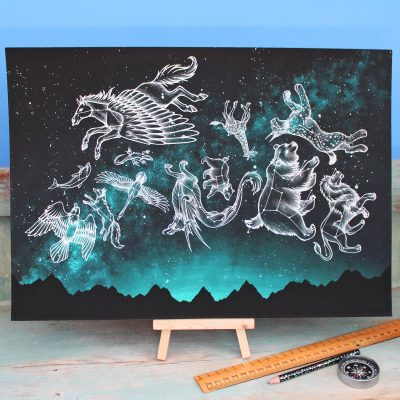 Midnight Menagerie Illustration – A3 Giclée Print
