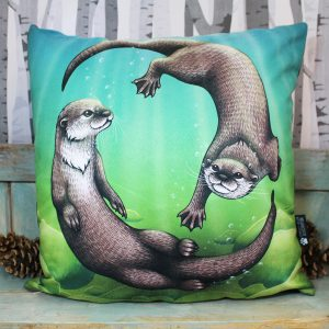 Asian Small-Clawed Otters Throw Pillow
