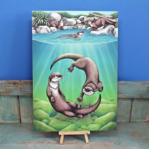 Asian Small-Clawed Otters Illustration – A3 Print
