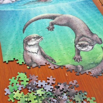 Otters Illustration 500 Piece Jigsaw
